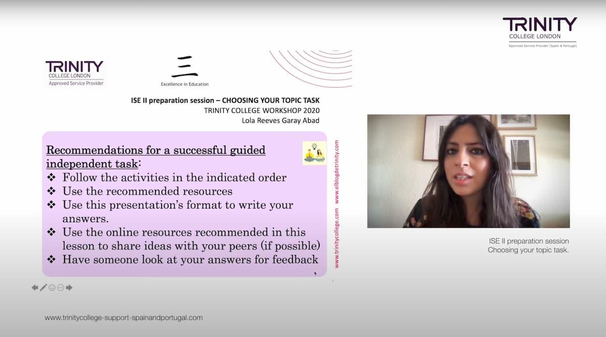 Webinar Lola (ISE II Preparation session – Choosing your topic task)